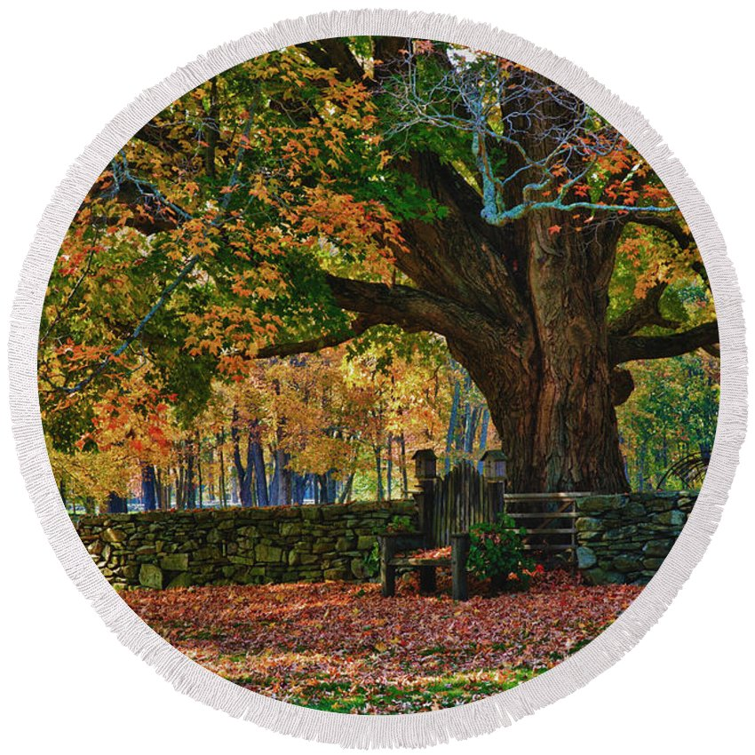 Autumn Foliage New England Round Beach Towel featuring the photograph Seated Under The Fall Colors by Jeff Folger