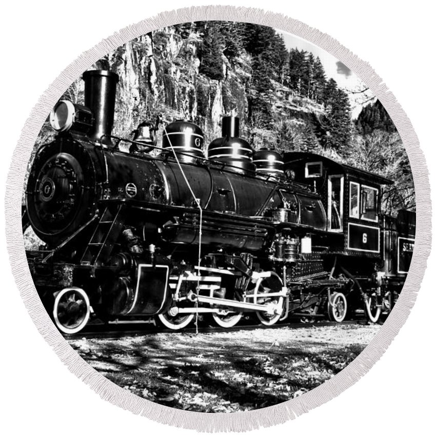 Newhalem Round Beach Towel featuring the photograph Seattle City Light Train In Bw by Adam Jewell