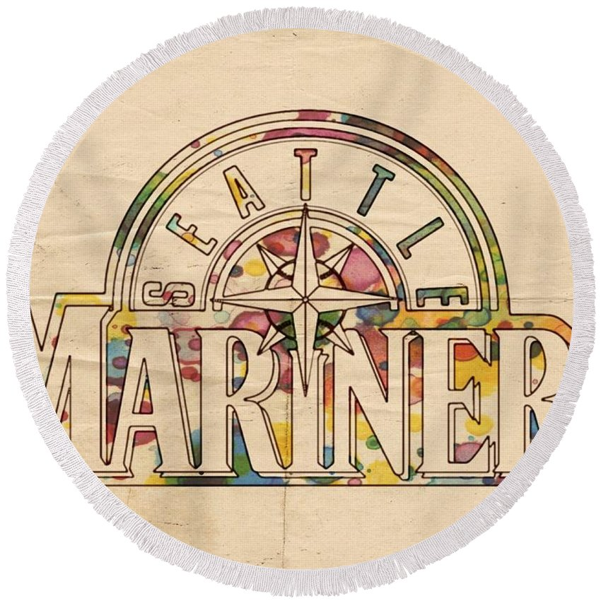 Seattle Mariners Round Beach Towel featuring the painting Seattle Mariners Poster Art by Florian Rodarte
