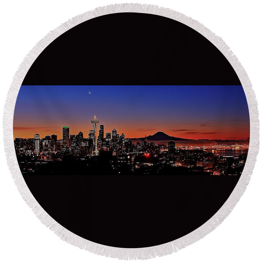 Seattle Round Beach Towel featuring the photograph Seattle Sunrise Panorama by Benjamin Yeager