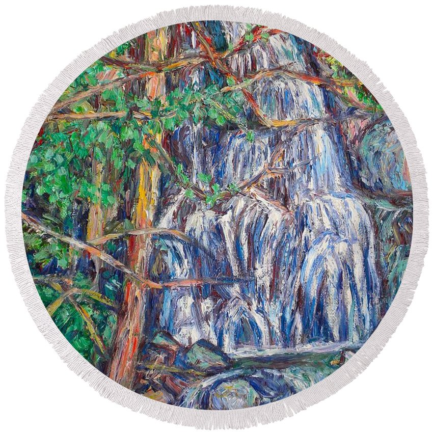 Waterfall Round Beach Towel featuring the painting Secluded Waterfall by Kendall Kessler