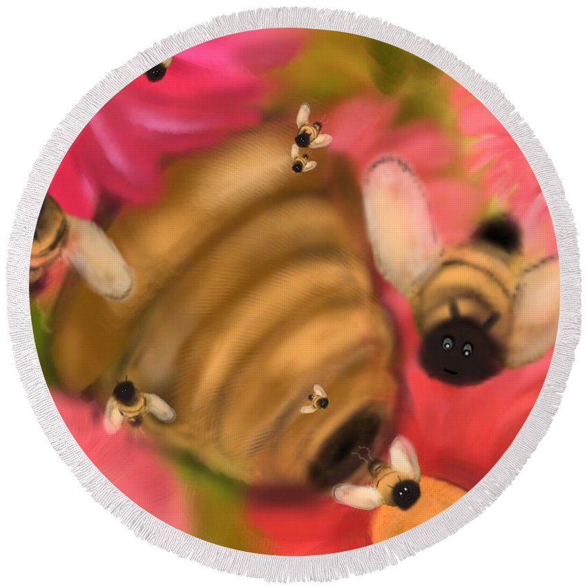 Bees Round Beach Towel featuring the digital art Secret Life Of Bees by Christine Fournier