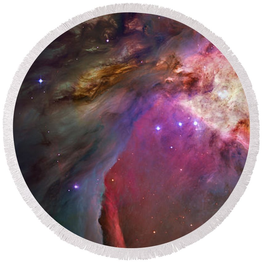 Messier 42 Round Beach Towel featuring the photograph Secrets Of Orion II by Ricky Barnard