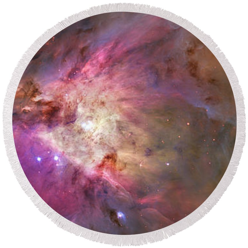 Messier 42 Round Beach Towel featuring the photograph Secrets Of Orion by Ricky Barnard