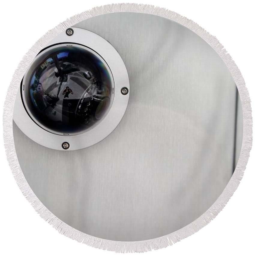 Security Round Beach Towel featuring the photograph Security Camera by Henrik Lehnerer