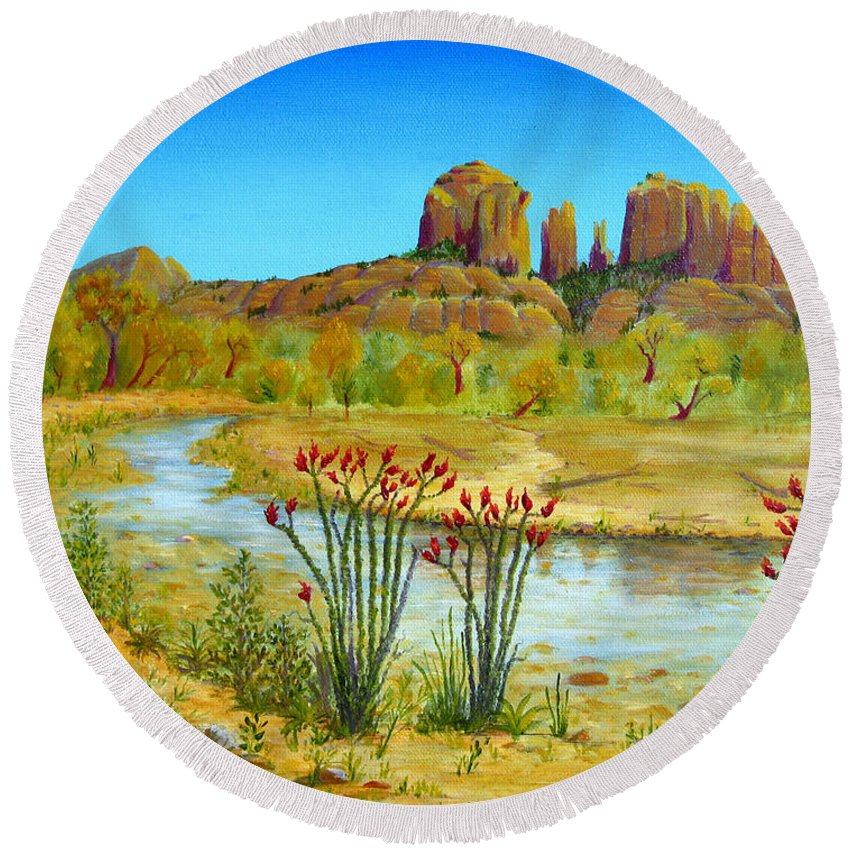Sedona Round Beach Towel featuring the painting Sedona Arizona by Jerome Stumphauzer