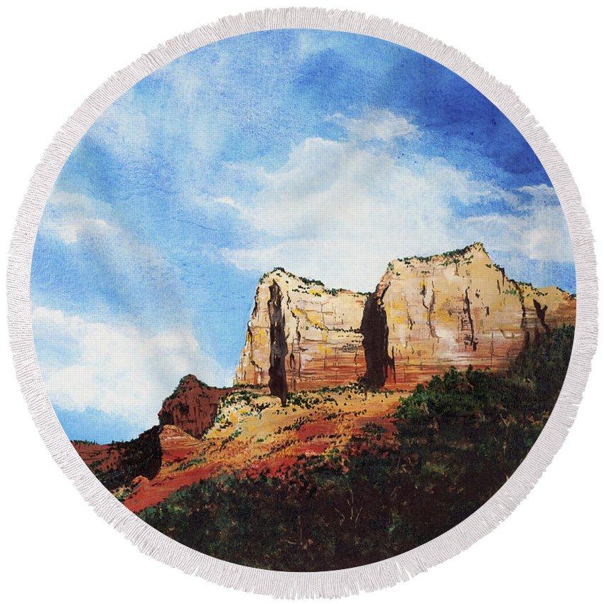 Sedona Arizona Round Beach Towel featuring the painting Sedona Mountains by Mary Palmer