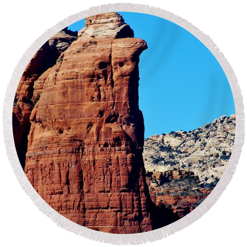 Nature Round Beach Towel featuring the photograph Sedona Rock Formation 030515a by Edward Dobosh