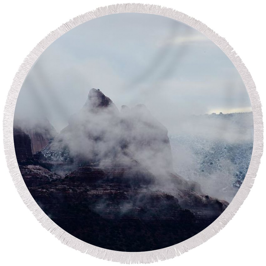 Winter Round Beach Towel featuring the photograph Sedona Rocks In Clouds 030315a by Edward Dobosh