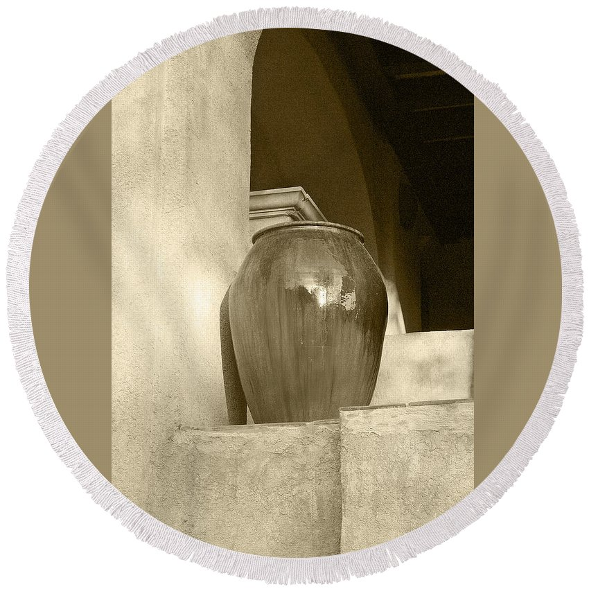 Architecture Round Beach Towel featuring the photograph Sedona Series - Jug In Sepia by Ben and Raisa Gertsberg