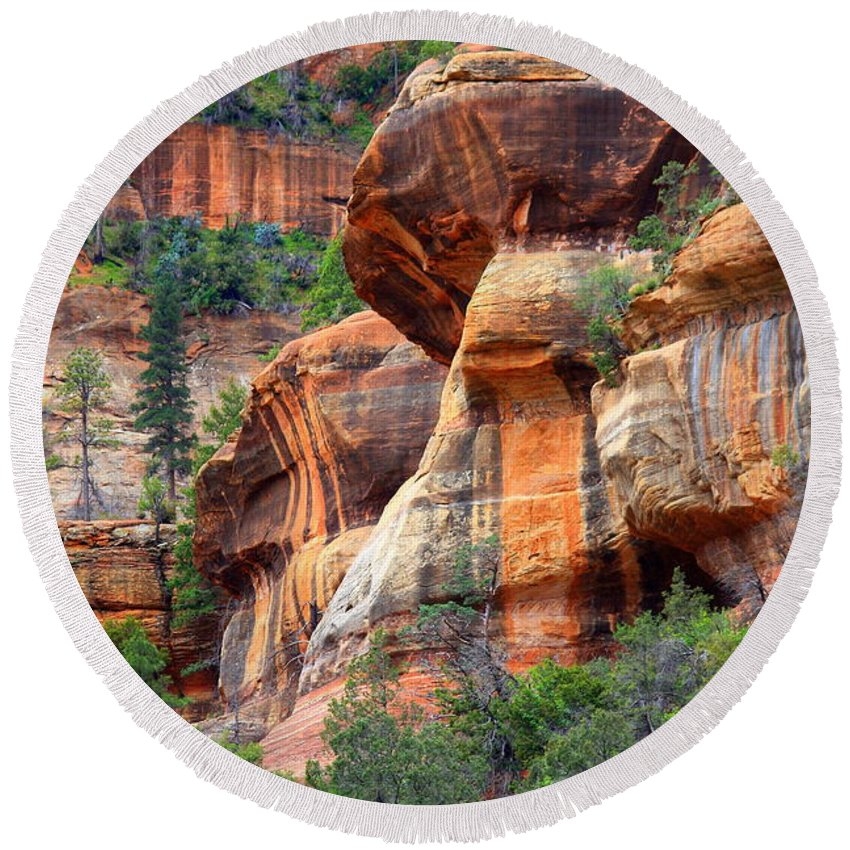 Sedona Round Beach Towel featuring the photograph Sedona Stripes by Carol Groenen
