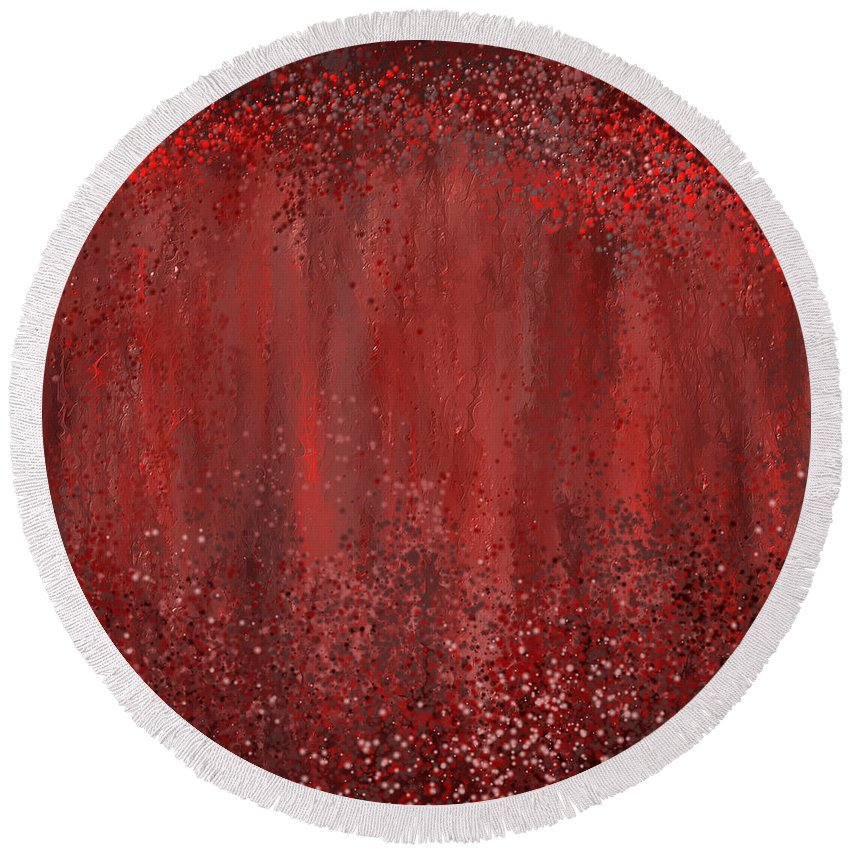 Marsala Round Beach Towel featuring the painting Seductive Embrace- Marsala Art by Lourry Legarde