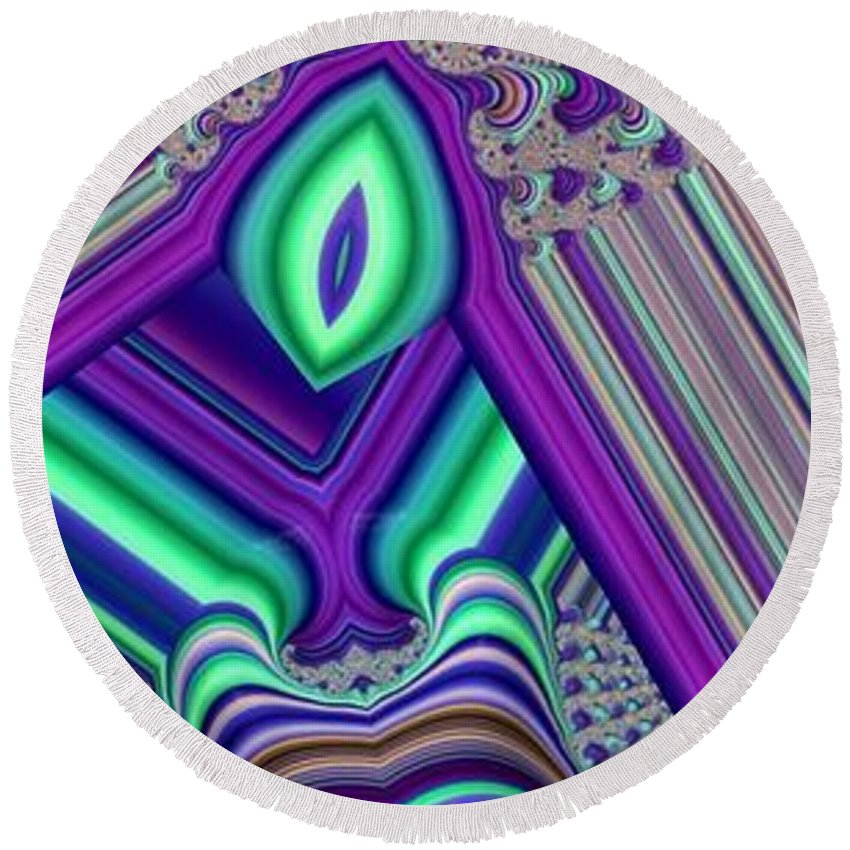 Collage Round Beach Towel featuring the digital art Seeing by Ron Bissett