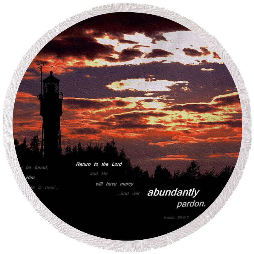 Lighthouse Round Beach Towel featuring the photograph Seek The Lord by Kim Blaylock