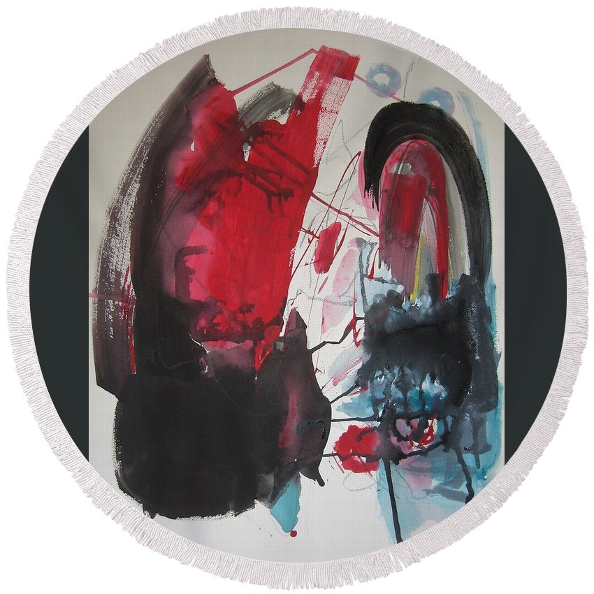 Red Paintings Round Beach Towel featuring the painting Seem To Happen Suddenly Original Abstract Colorful Landscape Painting For Sale Red Blue Green by Seon-Jeong Kim