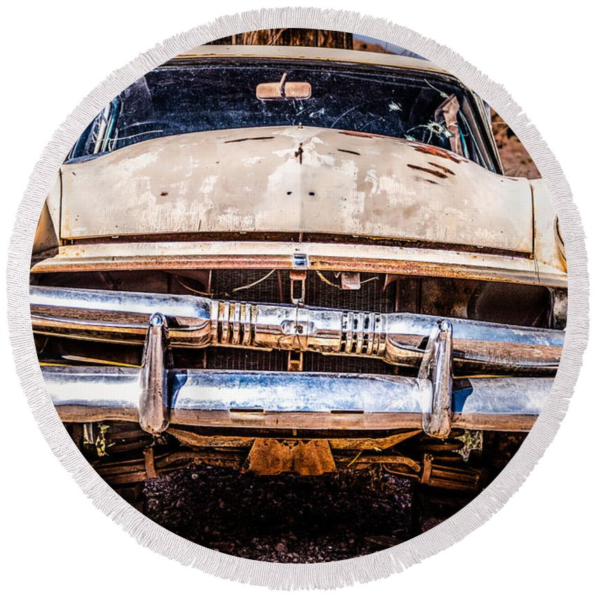 1953 Ford Antique Automobile Round Beach Towel featuring the photograph Seen Better Days by Onyonet Photo Studios