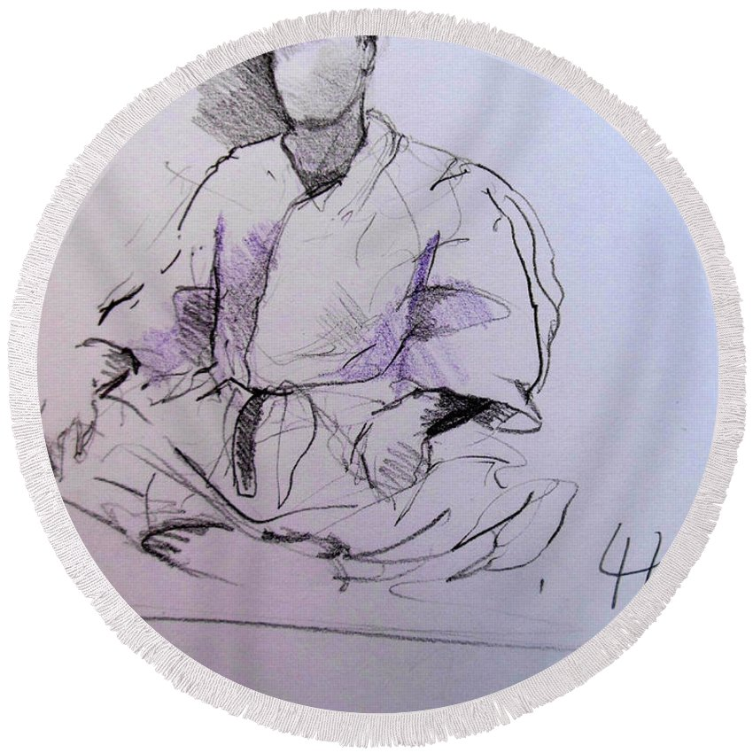 Seiza Round Beach Towel featuring the drawing Seiza by Lucia Hoogervorst