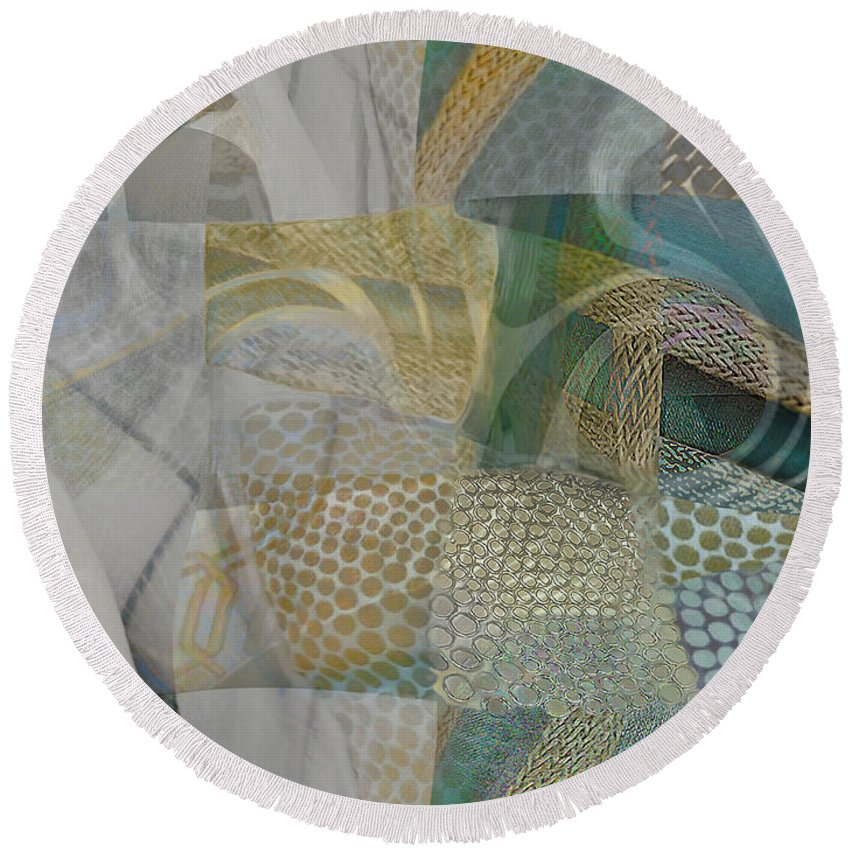 White Linen Round Beach Towel featuring the painting Selecting Linens by CR Leyland