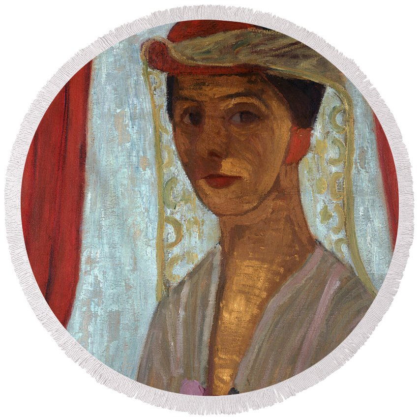 Female Round Beach Towel featuring the painting Self Portrait, 1906-7 by Paula Modersohn-Becker