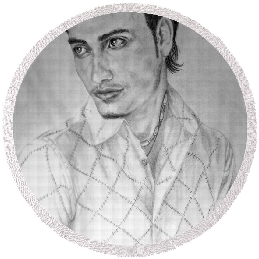 Portrait Round Beach Towel featuring the drawing Self Portrait by Alban Dizdari