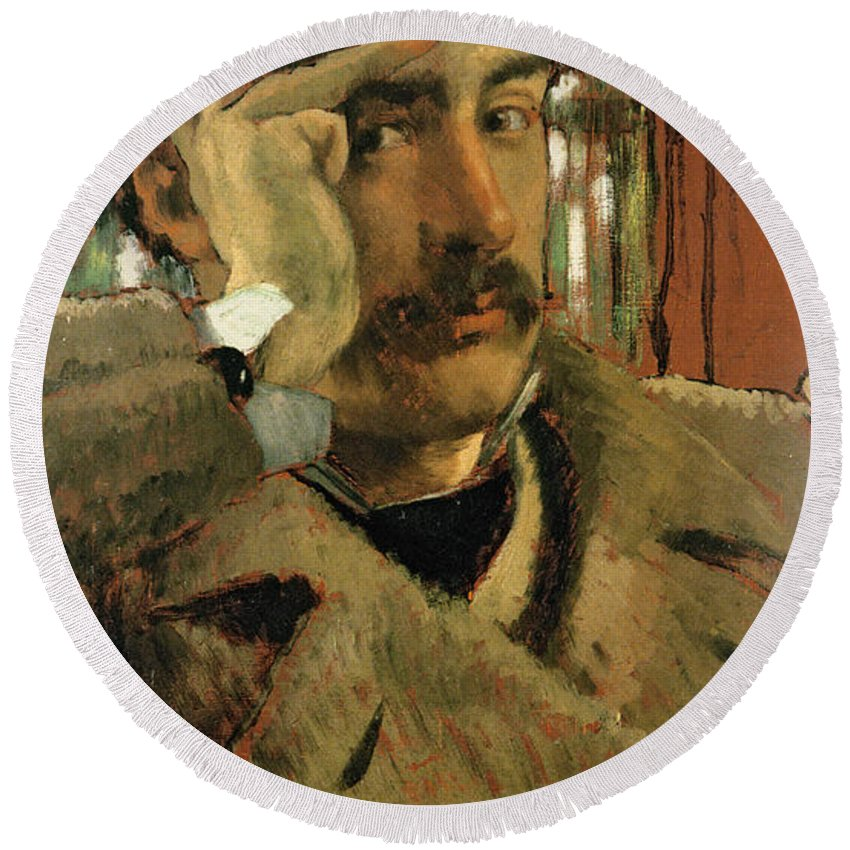 Thoughtful Round Beach Towel featuring the photograph Self Portrait, C.1865 Panel by James Jacques Joseph Tissot