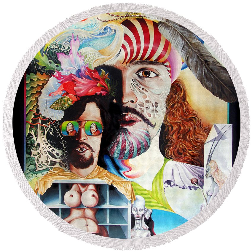 Surrealism Round Beach Towel featuring the painting Selfportrait With The Critical Eye by Otto Rapp