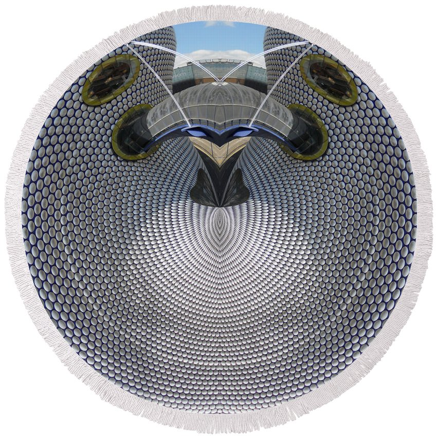 Castle Round Beach Towel featuring the digital art Selfridges Birmingham Bull Ring by Neil Finnemore