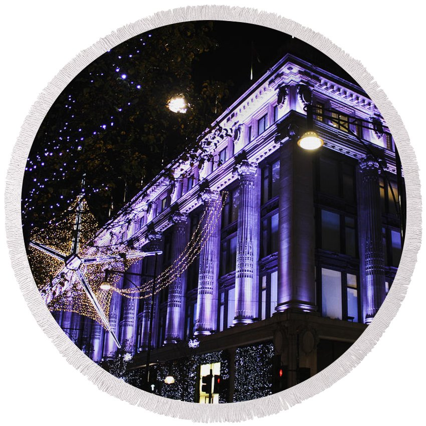 Selfridges Round Beach Towel featuring the photograph Selfridges London At Christmas Time by Terri Waters