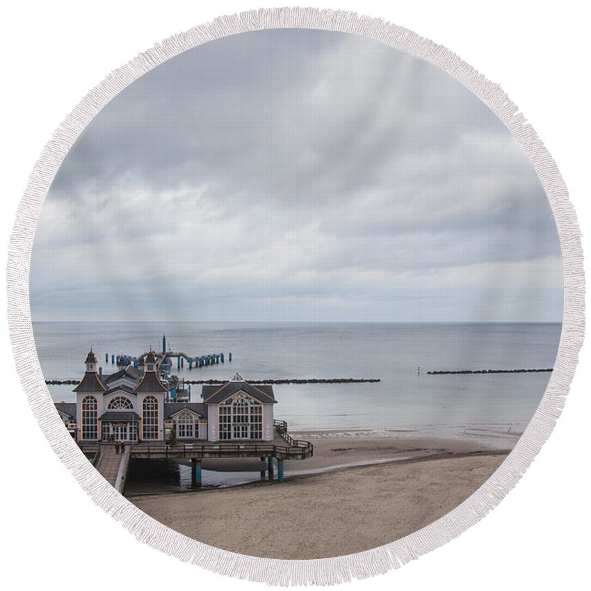 Island Of Ruegen Round Beach Towel featuring the photograph Sellin Pier by Ralf Kaiser