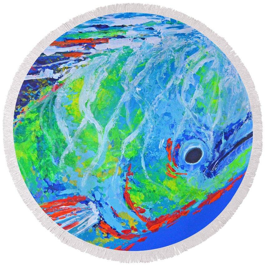 Under Water Round Beach Towel featuring the painting semi abstract Mahi mahi by Paola Correa de Albury