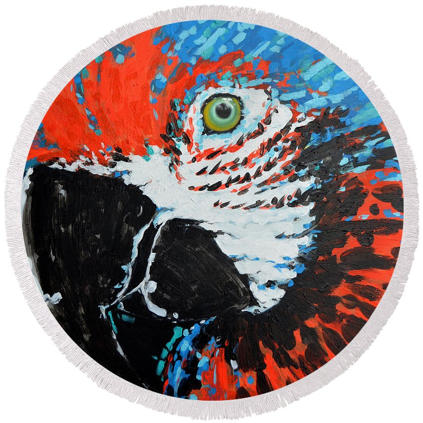 Parrot Round Beach Towel featuring the painting Semiabstract Parrot by Paola Correa de Albury