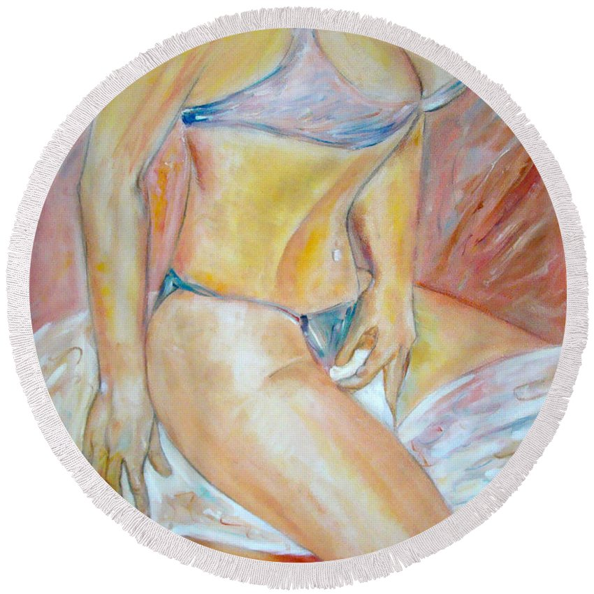 Contemporary Art Round Beach Towel featuring the painting Sensual by Silvana Abel