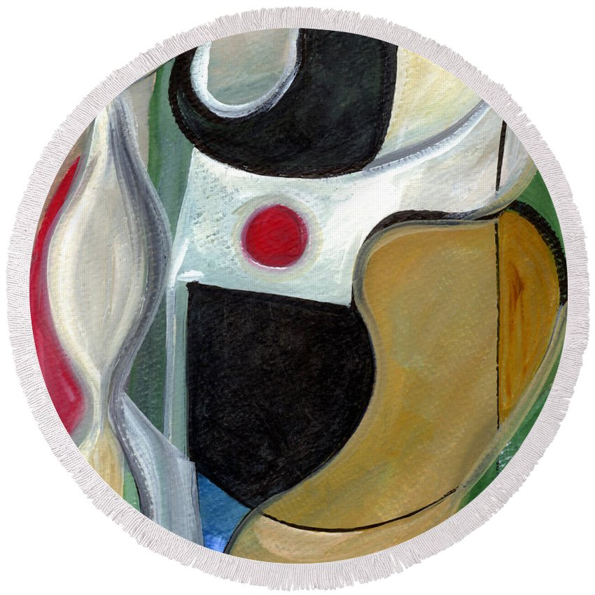 Abstract Art Round Beach Towel featuring the painting Sensuous Beauty by Stephen Lucas