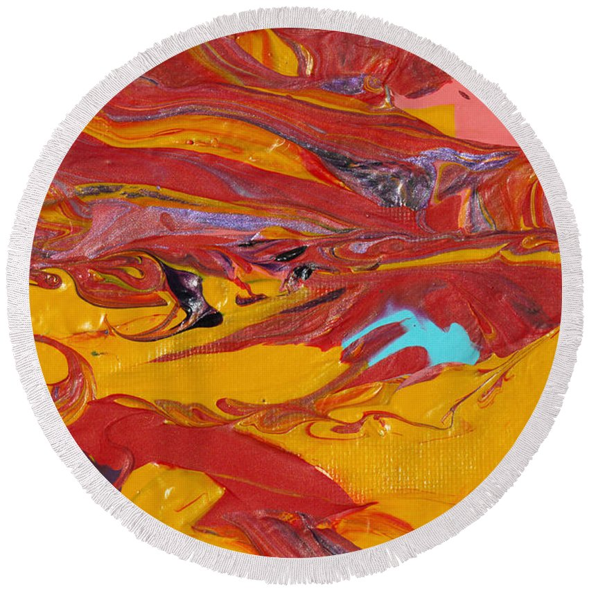 Sensuous Moves Round Beach Towel featuring the painting Sensuous Moves by Donna Blackhall