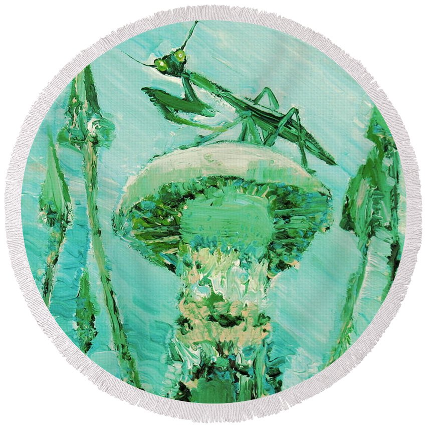 Mantis Round Beach Towel featuring the painting Sentinel by Fabrizio Cassetta