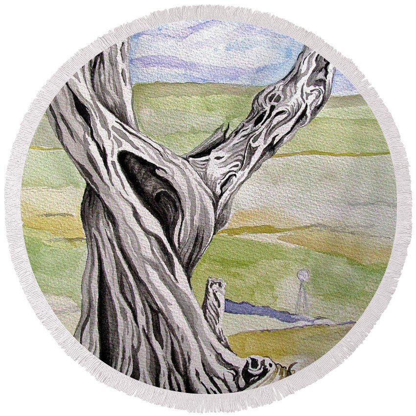 Trees Round Beach Towel featuring the painting Sentinel Tree by Linda Williams