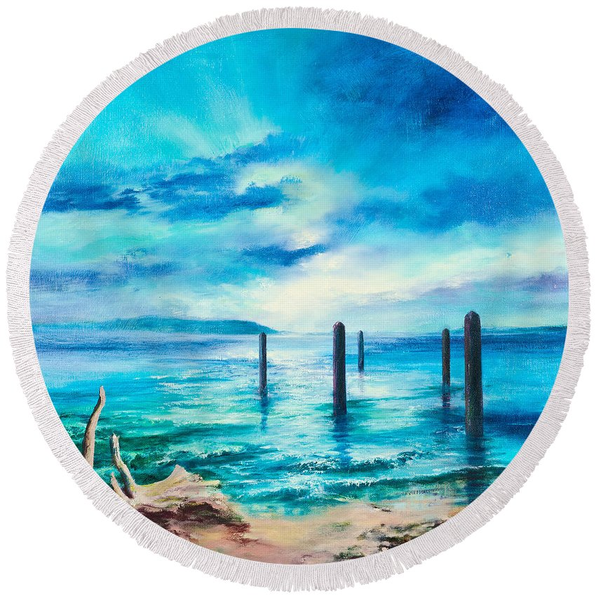 Sea Round Beach Towel featuring the painting Sentinels by C J Elsip