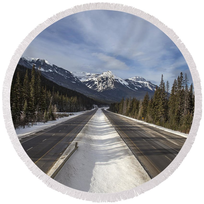 Banff Round Beach Towel featuring the photograph Separate Ways by Evelina Kremsdorf