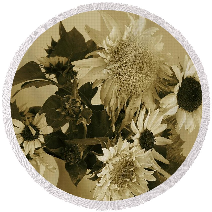Sepia Sunflowers Round Beach Towel featuring the photograph Sepia Garden Sunflower Bouquet by Mary Wolf