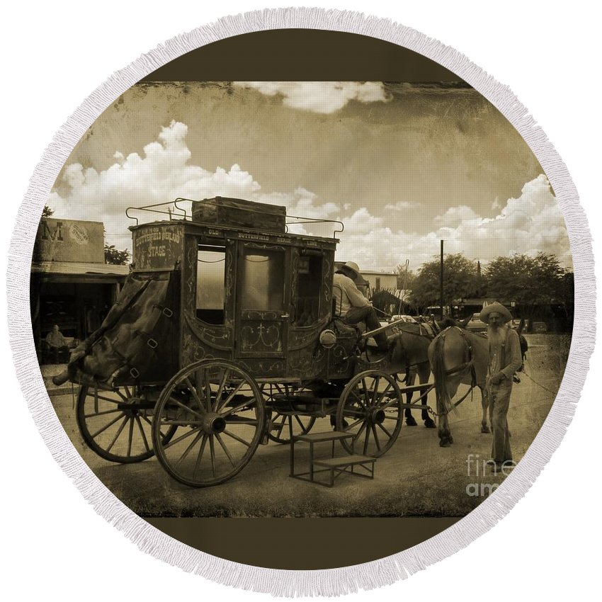 Sepia Stagecoach Round Beach Towel featuring the photograph Sepia Stagecoach by John Malone