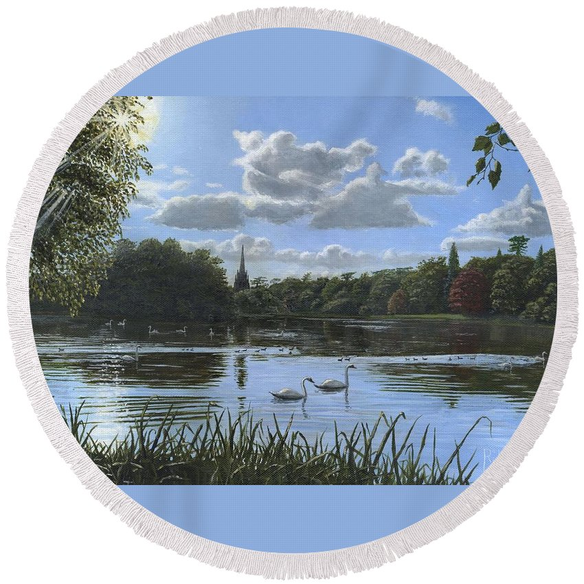 Landscape Round Beach Towel featuring the painting September Afternoon In Clumber Park by Richard Harpum