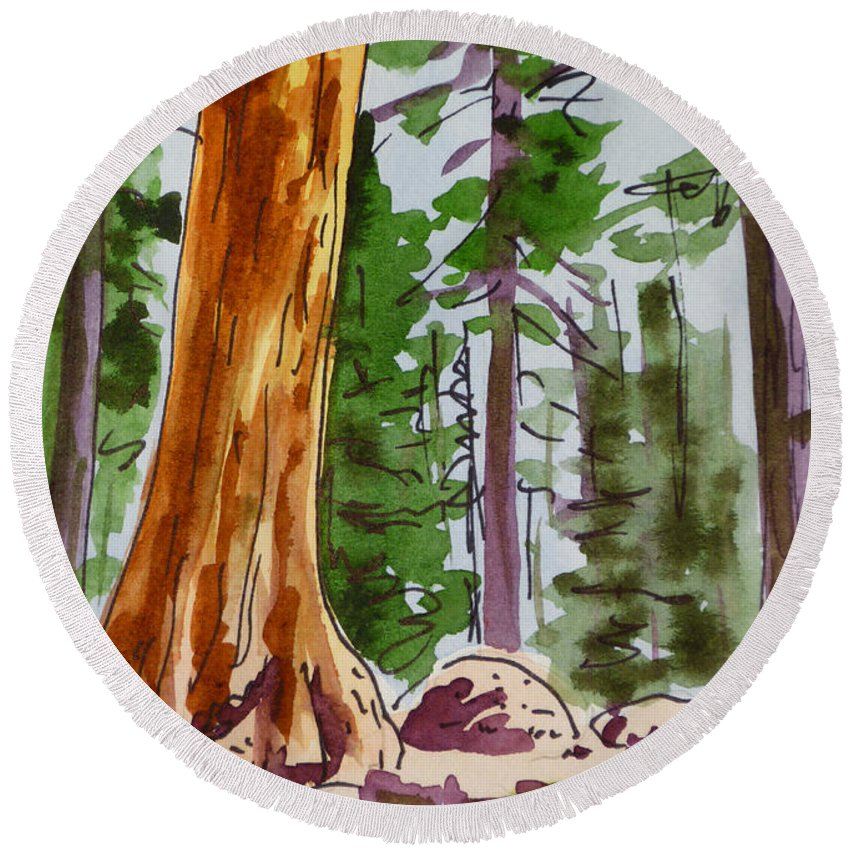 Sketchbook Round Beach Towel featuring the painting Sequoia Park - California Sketchbook Project by Irina Sztukowski