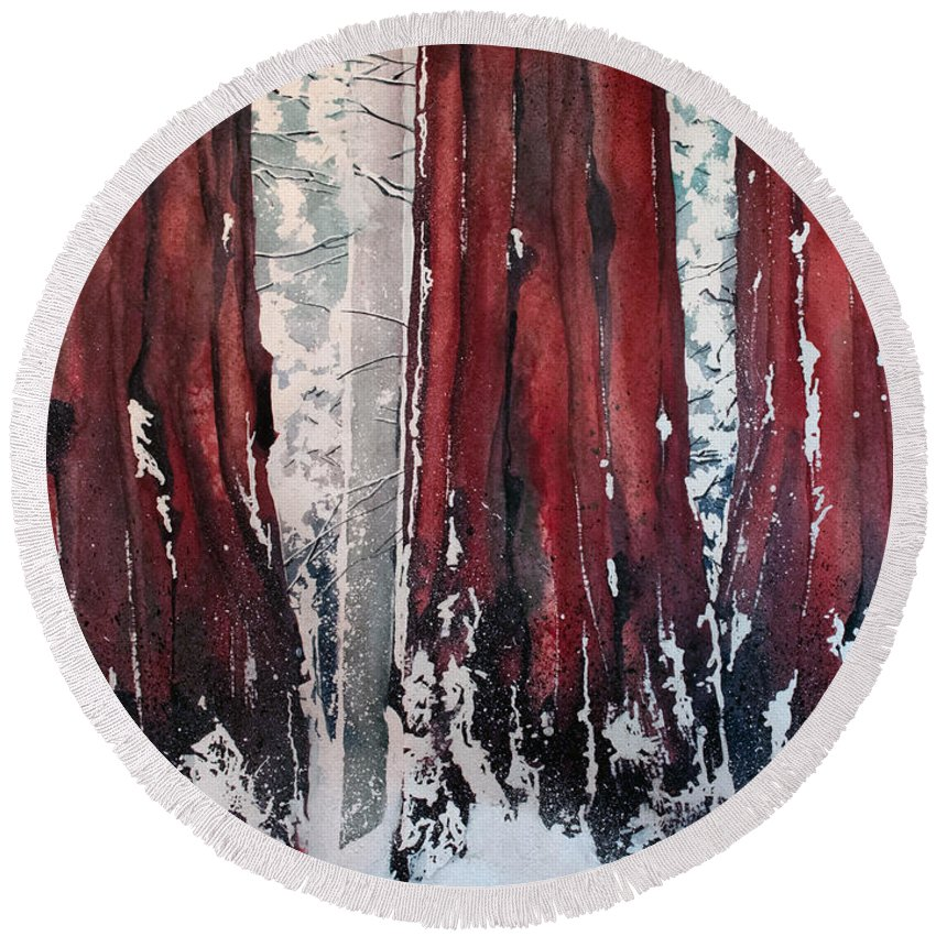 Sequoia Round Beach Towel featuring the painting Sequoia by Sean Parnell