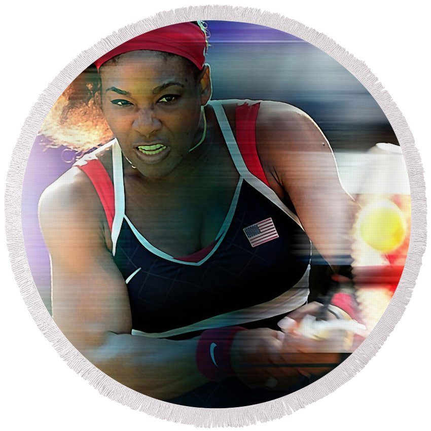 Serena Williams Drawings Mixed Media Round Beach Towel featuring the mixed media Serena Williams by Marvin Blaine