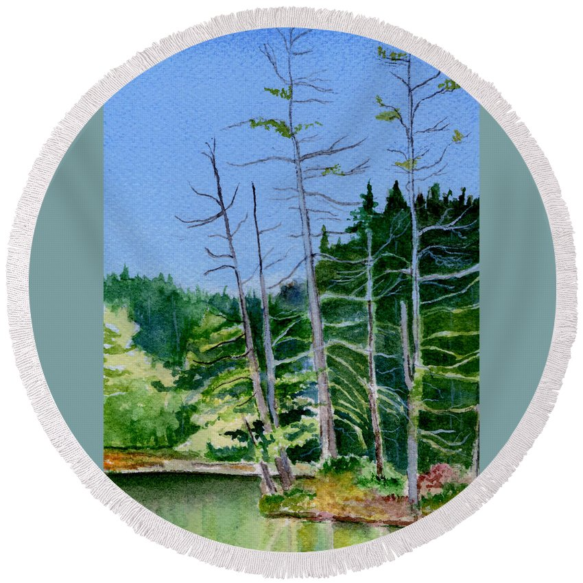 Landscape Round Beach Towel featuring the painting Serenity On The Lake by Brenda Owen