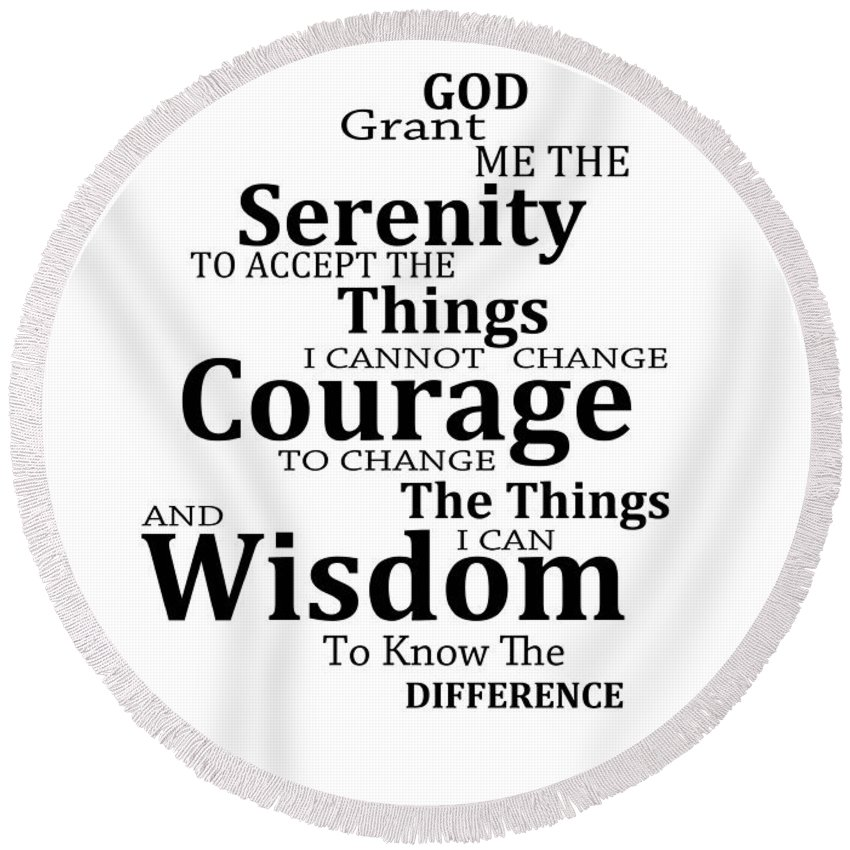 Serenity Prayer Round Beach Towel featuring the painting Serenity Prayer 6  - Simple Black And White fe9619c10e5f9