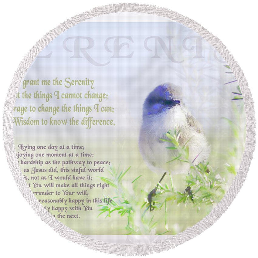 Animals Round Beach Towel featuring the photograph Serenity Prayer by Holly Kempe