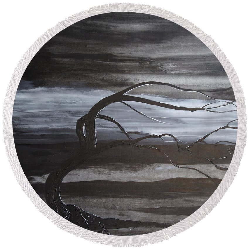 Landscape Round Beach Towel featuring the painting Serenity by Stefan Duncan