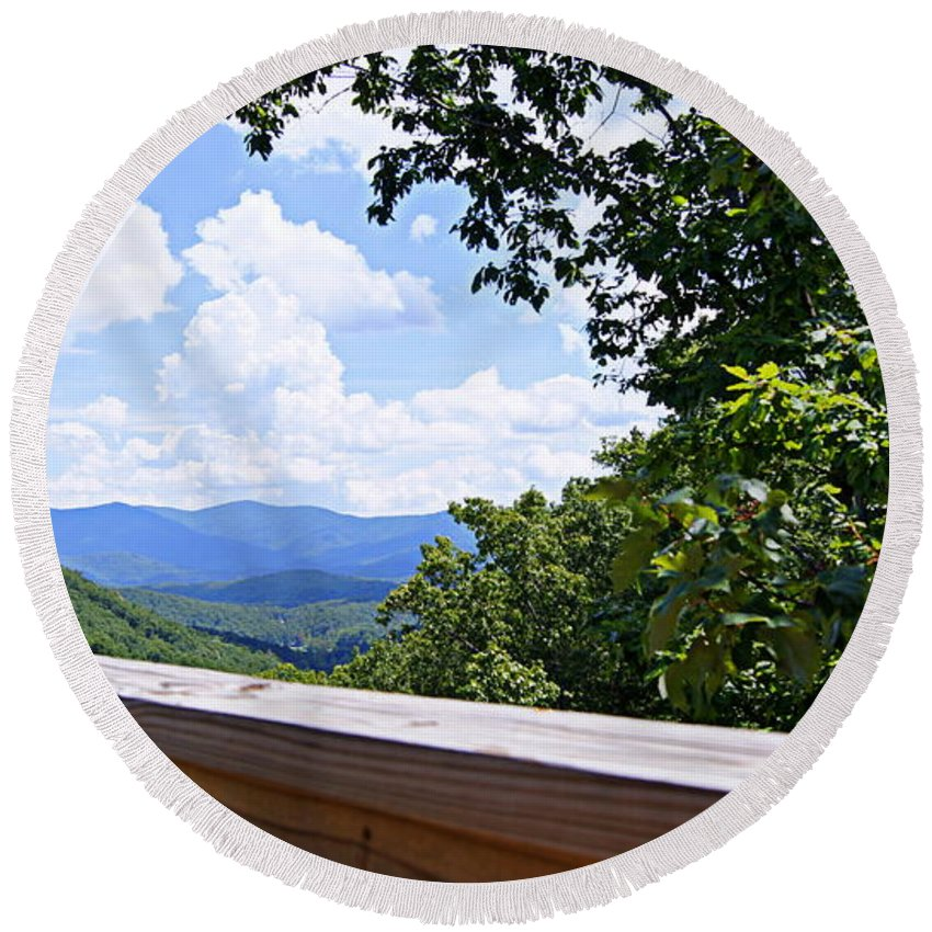 Mountains Round Beach Towel featuring the photograph Serenity View by Paul Wilford