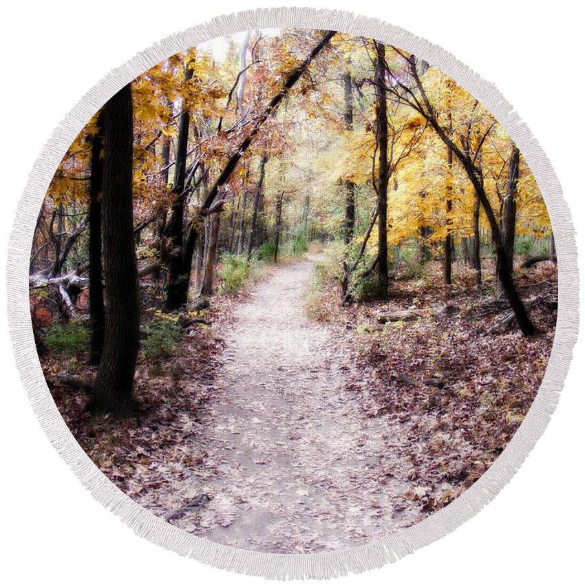 Trails Round Beach Towel featuring the photograph Serenity Walk In The Woods by Peggy Franz